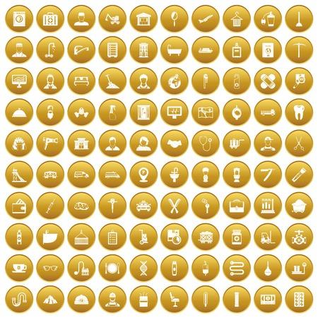 100 craft icons set gold