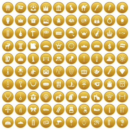 100 crown icons set in gold circle isolated on white vector illustration