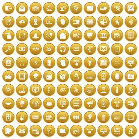 100 cyber security icons set gold