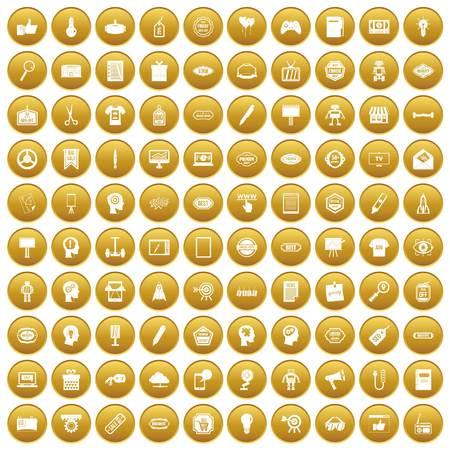tactics: 100 creative marketing icons set gold Illustration