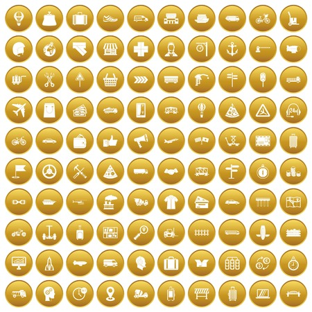 100 delivery icons set in gold circle isolated on white vector illustration Ilustrace