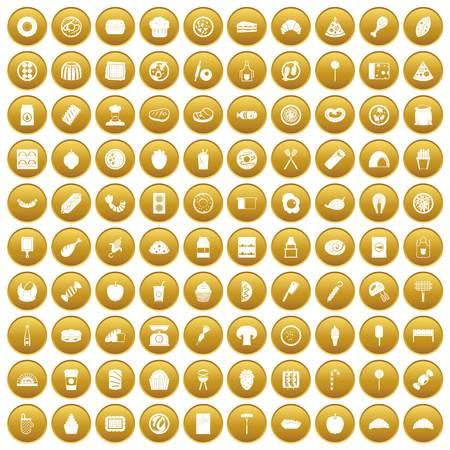 100 délicieux icônes plates mis dans le cercle d & # 39 ; or isolé sur blanc illustration vectorielle Vecteurs