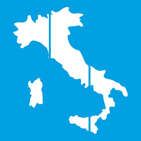 Map of Italy icon white isolated on blue background vector illustration