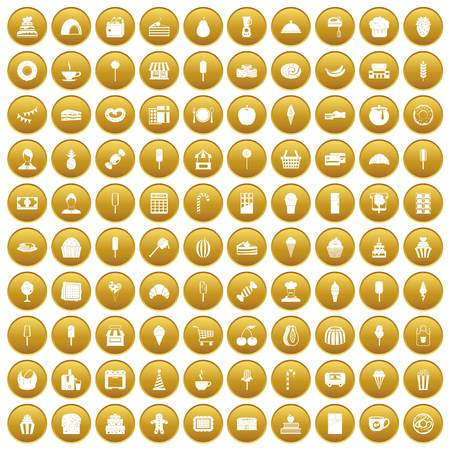 100 dessert icons set gold