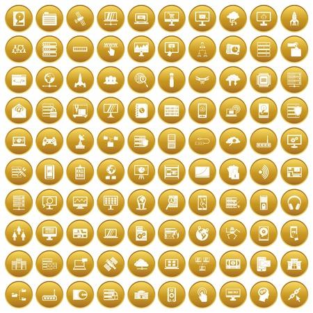 100 database and cloud icons set gold Illustration