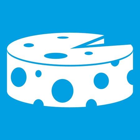 Cheese wheel icon white isolated on blue background vector illustration Illustration