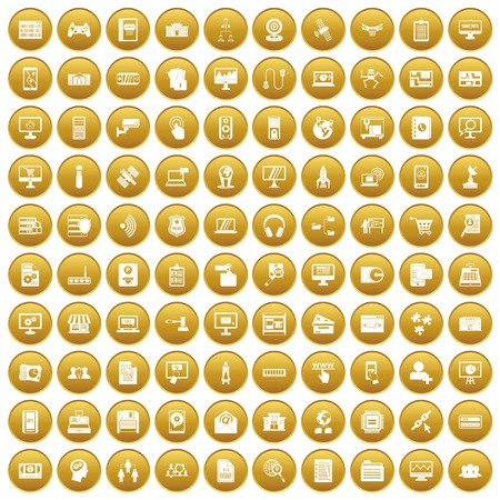 100 database icons set in gold circle isolated on white vector illustration Illustration
