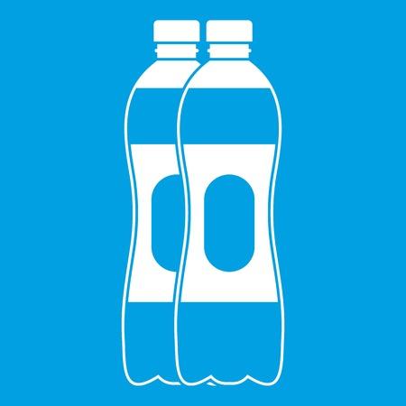 Two plastic bottles icon white Illustration