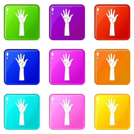 hi five: Hand icons of 9 color set isolated vector illustration