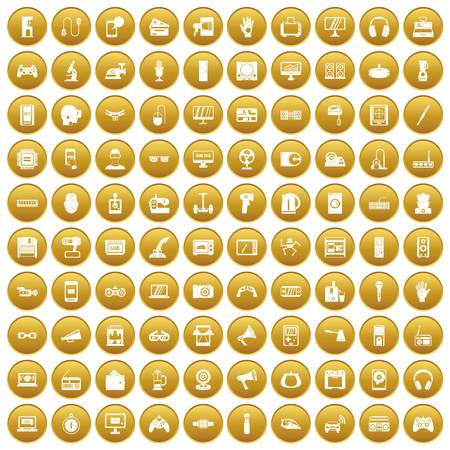 100 device icons set in gold circle isolated on white vector illustration Illustration