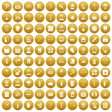 100 doctor icons set in gold circle isolated on white vector illustration Illustration
