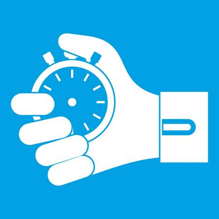 Hand holding stopwatch icon white isolated on blue background vector illustration