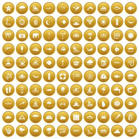 100 diving icons set in gold circle isolated on white vector illustration
