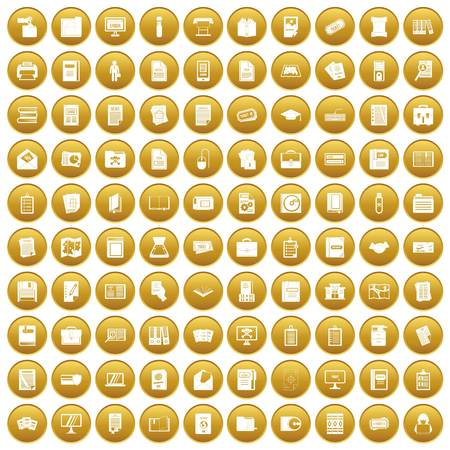 100 document icons set in gold circle isolated on white vector illustration