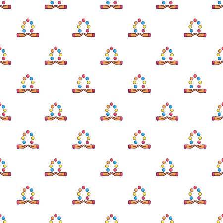 Juggler manos y bolas patrón de repetición sin fisuras en estilo de dibujos animados ilustración vectorial