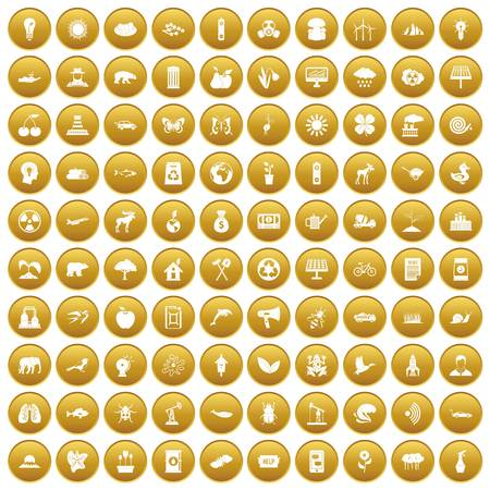 100 eco care icons set gold