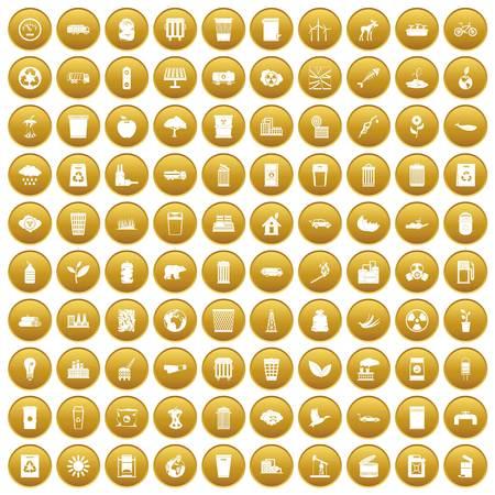 100 ecology icons set gold