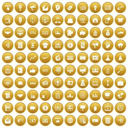 100 e-commerce icons set gold