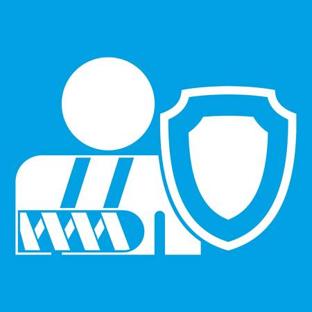 insure: Broken arm and safety shield icon white isolated on blue background vector illustration Illustration