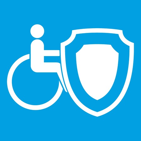 impairment: Wheelchair and safety shield icon white isolated on blue background vector illustration Illustration
