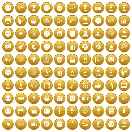 100 emotion icons set in gold circle isolated on white vector illustration Ilustrace