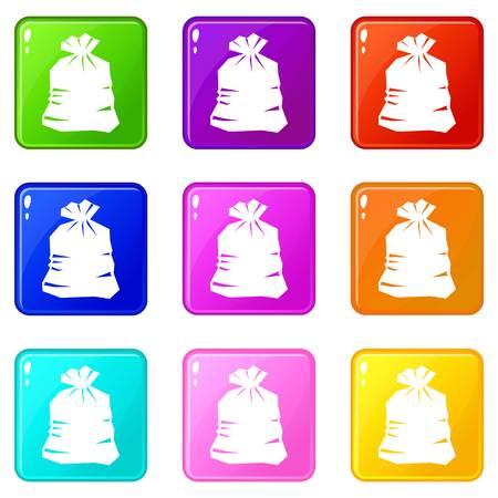 junk: Garbage bag icons of 9 color set Illustration