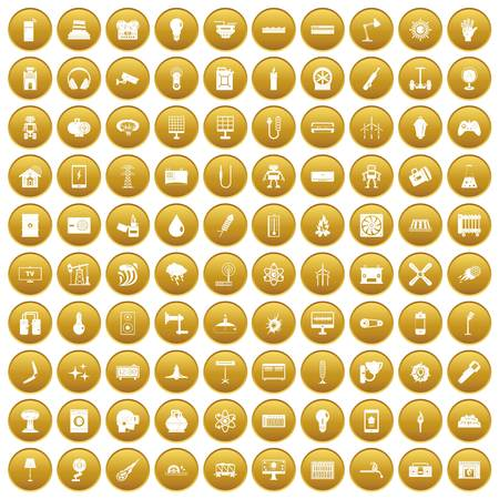 100 energy icons set in gold circle isolated on white vector illustration