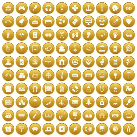 100 entertainment icons set in gold circle isolated on white vector illustration Illustration