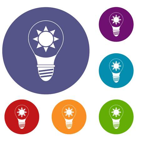 lamp light: Light bulb with sun inside icons set in flat circle red, blue and green color for web