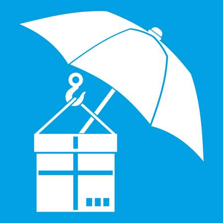 Umbrella and a cardboard box icon white isolated on blue background vector illustration Illustration