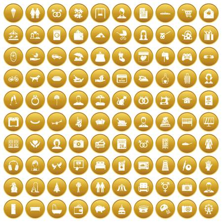 100 family icons set in gold circle isolated on white vector illustration