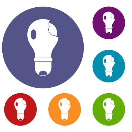 lamp light: Broken lightbulb icons set in flat circle red, blue and green color for web Illustration