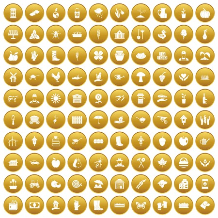 100 farm icons set in gold circle isolated on white vector illustration