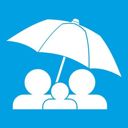Family under umbrella icon white isolated on blue background vector illustration Illustration