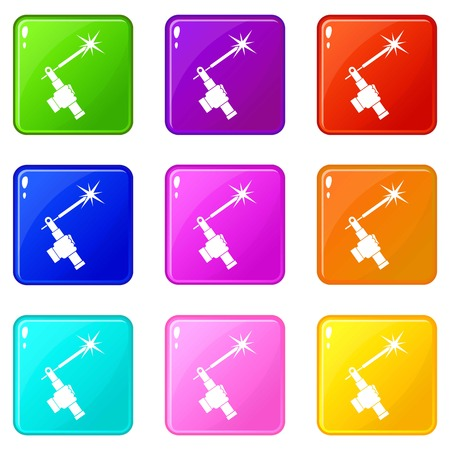 Mig welding torch in hand icons of 9 color set isolated vector illustration