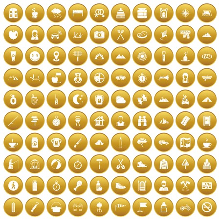 100 family camping icons set gold