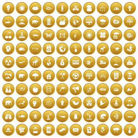 100 eco care icons set in gold circle isolated on white vector illustration Illustration