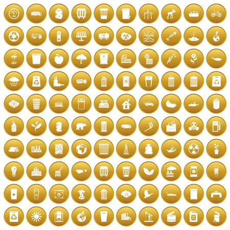 100 ecology icons set in gold circle isolated on white vector illustration