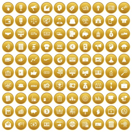 100 e-commerce icons set in gold circle isolated on white vector illustration