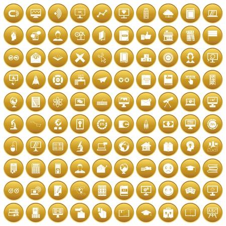 100 e-lerende die pictogrammen in gouden die cirkel worden geplaatst op witte vectorillustratie wordt geïsoleerd