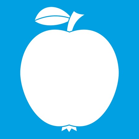 Black apple icon white isolated on blue background vector illustration
