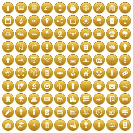 100 electricity icons set gold