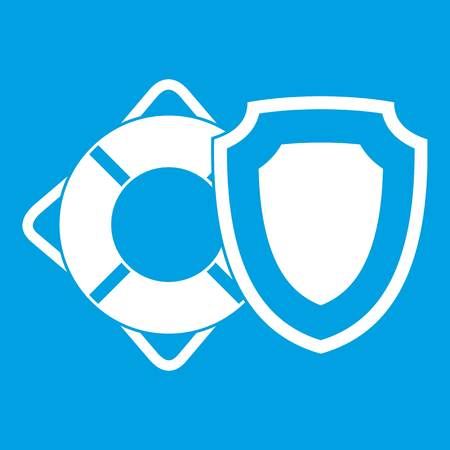 Lifebuoy and safety shield icon white