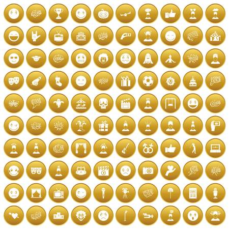 100 emotion icons set gold
