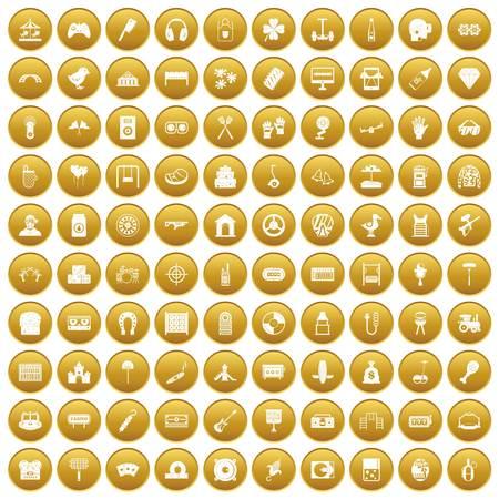 100 entertainment icons set gold