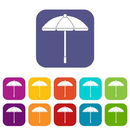 Sun umbrella icons set