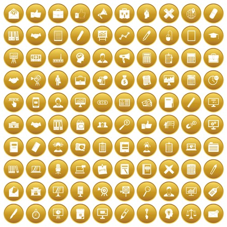 100 finance icons set gold