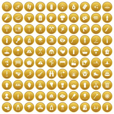 100 fire icons set in gold circle isolated on white vector illustration