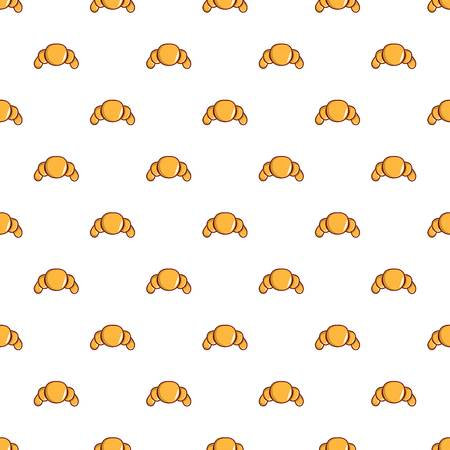 Croissant pattern seamless repeat in cartoon style vector illustration