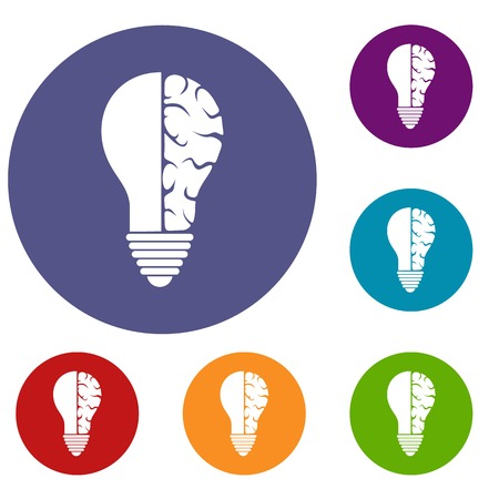 Brain lamp icons set Illustration